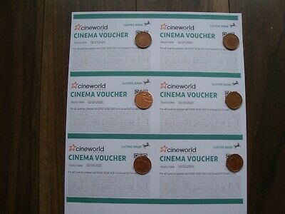 6 Cineworld cinema movie tickets expiry date 02/03/2020