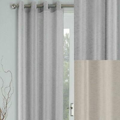 One Single PALM Textured Linen Look Voile Curtain Ring Top Eyelet Header Panels