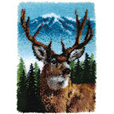 "Deer Latch hook Kit Rug Making kit 20x30"" Plain Canvas by Caron Classics"