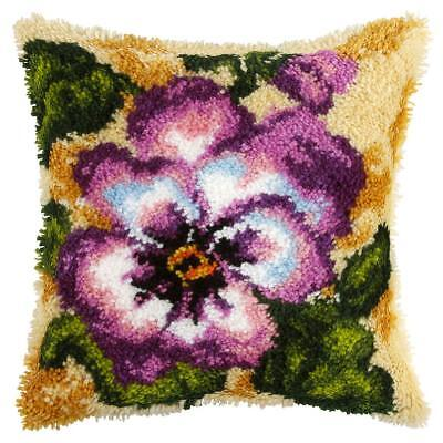 Pansy Latch Hook Cushion Front Kit. Orchidea, 40x40cm Printed canvas