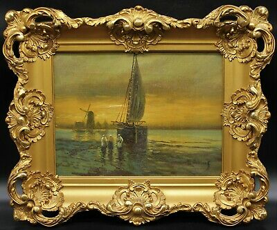 Beautiful Dutch Sailboat & Windmill Nautical Painting Rococo Gilt Wood Frame