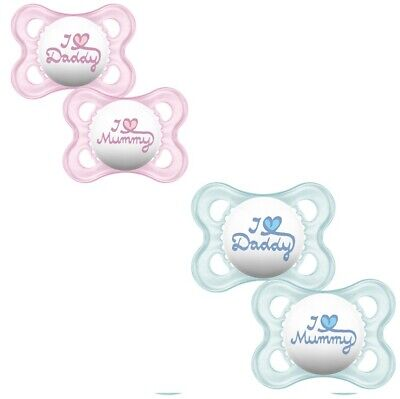 CHOICE OF COLOUR I Love Mummy /& I Love Daddy Soother Twin Pack 6m A106 MAM
