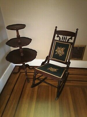Antique Needlepoint Rocking Chair