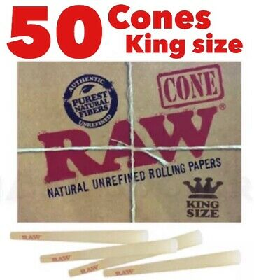 RAW Classic King Size Authentic Pre-Rolled Cones with Filter~50 Pack