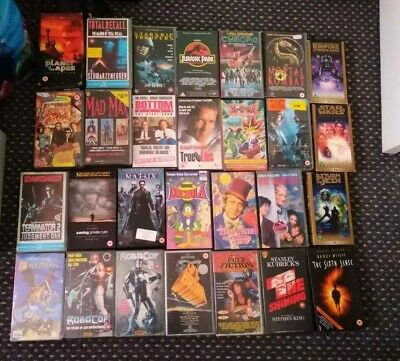 VHS Videos Film Tapes x 28  Robo Cop Cyborg mad max vieo vintage retro