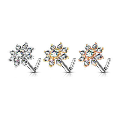 Surgical Steel L Shaped Pre Bent Starburst Flower Nose Stud Set With Clear Cz