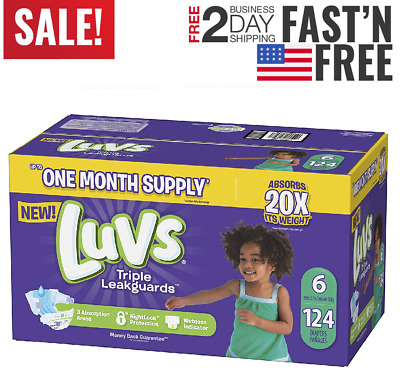 Diapers size 6 Luvs Ultra Leakguards Disposable (124 counts) Baby Diapers size 6