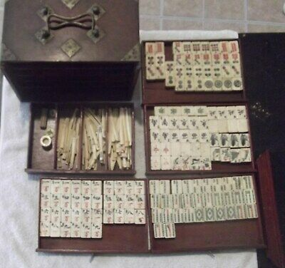 Antique Chinese Bone & Bamboo Mahjong Set Wood Carry Case, 148 Tiles 120 Sticks