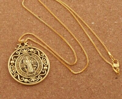 "Gold Saint St Benedict Protection Medal Ornate Pendant Necklace 24"" Box Chain"
