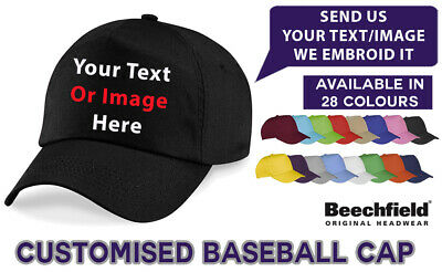 Personalised Custom Printed Embroidered Hat Promo Text Logo Work Baseball Cap