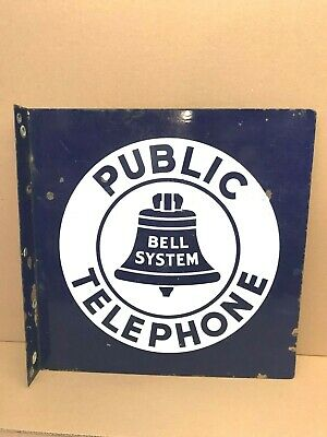 Bell System Public Telephone Porcelain 18 Inch Double Sided Flange Sign