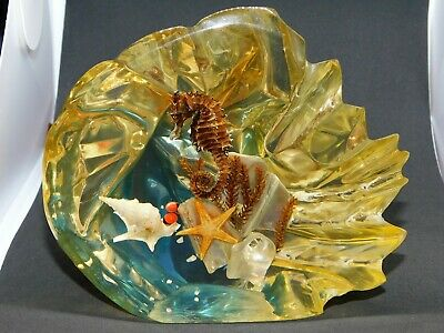 Yellow Lucite Perspex Acrylic Sealife Seahorse Starfish Retro Kitsch Paperweight