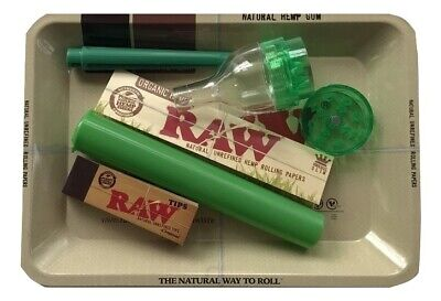 Raw Tray Bundle King Size Organic Papers Raw Tips Cone Roller Grinder Doob Tube