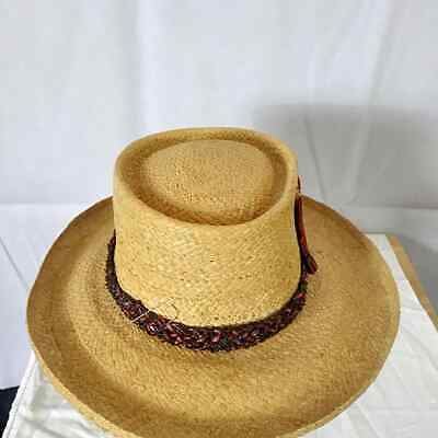 a498a54e69d79 VINTAGE ITALIAN GONDOLIER Style Women's Straw Hat with Red Ribbon ...