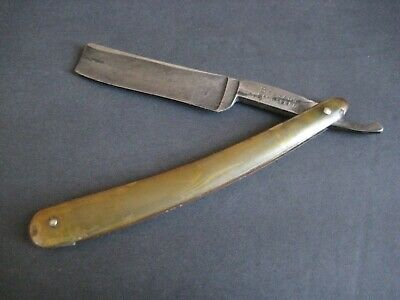 EARLY 1800's ENGLISH HORN HANDLED BENGALL CAST STEEL STRAIGHT RAZOR