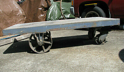 STEEL PLATFORM CART/TRUCK w IRON WHEELS Railroad Warehouse Industrial Army VTG