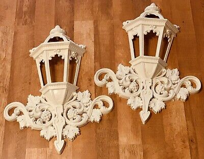 Vintage Pair Of Large French Country Chic Lantern Lamp Post Wall Plaques Pockets