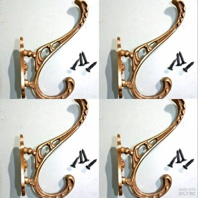 "4 COAT HOOKS door solid brass furniture vintage age old style heavy 4 "" deco"