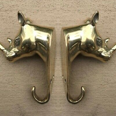 2  small RHINO COAT HOOK solid POLISHED brass  old style Rhinoceros 11 cm hook B