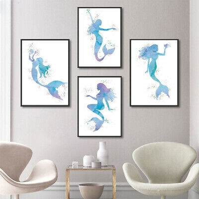 Mermaid Girls Cartoon Canvas Painting Bathroom Art Hanging Picture Home Decor A4