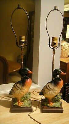 Vintage Pair Ceramic Porcelain Mallard Duck Table Lamps on Wood Base Decoy
