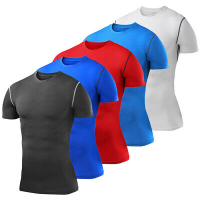 Mens Compression Top Short Sleeve Shirt T-Shirt Gym Wear Under Base Layer Tights