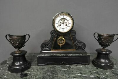 Wonderful Antique Triptych Watch Marble Green Alps with Couple Vases 1880 Paris