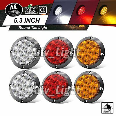 2 Amber 2 Red 2 White 12 LED 4 Inch Round Turn Stop Reverse Truck Tail Light 12V