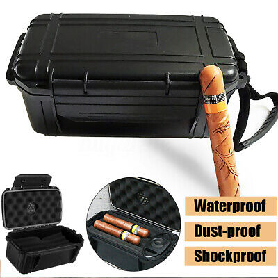 Portable 15 Cigar Tube Travel Case Humidor Caddy Box Waterproof Home Humidifier
