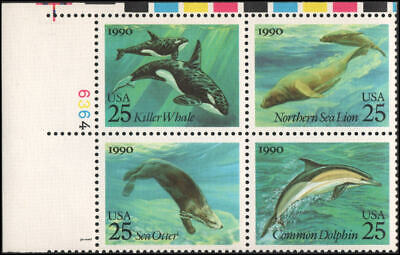 US #2508-2511 MNH plate block of 4, 25c Sea Creatures