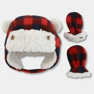 790f472b2e4ba NEW BABY BOYS  Plaid Trapper Hat and Mitten Set - Cat   Jack Red 3 ...