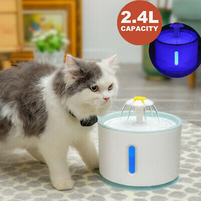 2.4L Automatic Electric Pet Water Fountain Cat/Dog Drinking Dispenser with LED