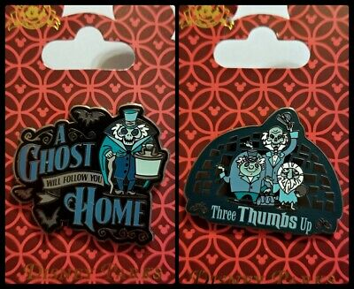 Disney Parks 2 Pin Lot HAUNTED MANSION - Ghost will follow you home + Thumbs Up