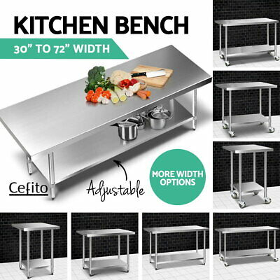 Cefito 430 Stainless Steel Kitchen Bench Prep Table Food Grade Size Upgrade