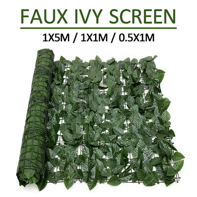 Artificial Hedge Roll Screening Ivy Leaf Garden Fence Privacy Screen 1m x 5m