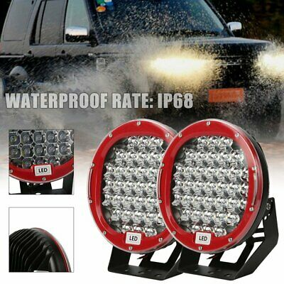 Pair 9inch 99999W LED Spot Driving lights Offroad 4x4 Red Round ATV Work AU