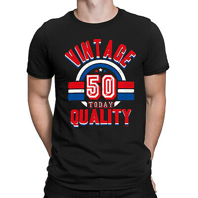 Mens 50th Birthday T-Shirt VINTAGE QUALITY 50 Today Funny Present Gift Top