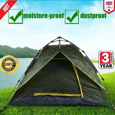 Double Layer Instant Auto Pop Large Camping Tent Outdoor 3-4 Persons Shelter QFS