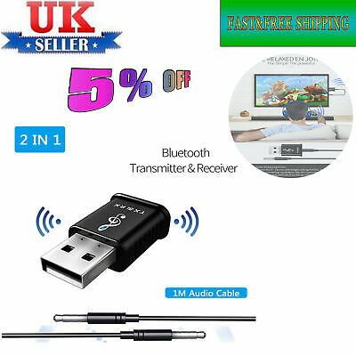 USB Bluetooth V5.0 Transmitter & Receiver WIFI A2DP Audio 3.5mm Aux Cable UK-ME1
