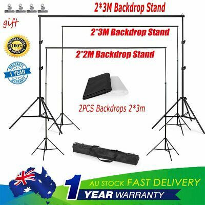 Photography Studio  Black White Backdrops Screen &Background Support Stand Kit