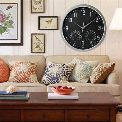 Large Outdoor Wall Clock Humidity & Temperature Roman Numerals Watch Home Office