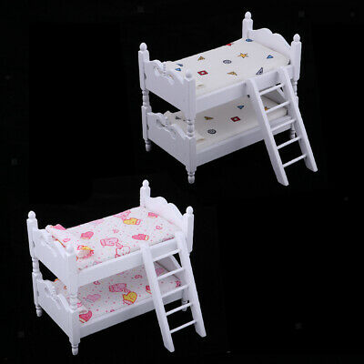 2pcs Lovely Dollhouse Miniature Bedroom Bunk Bed 1:12 Scale Model Decoration