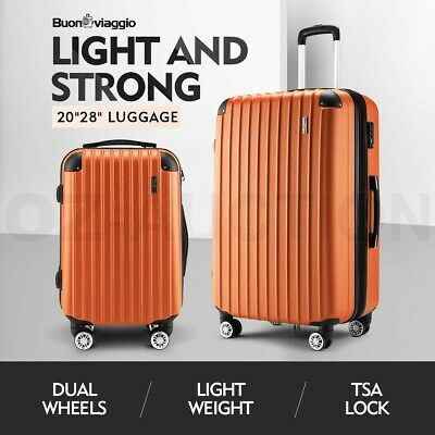 2PCS Luggage Set Suitcase Trolley TSA Hard Case Organiser Travel Storage Orange