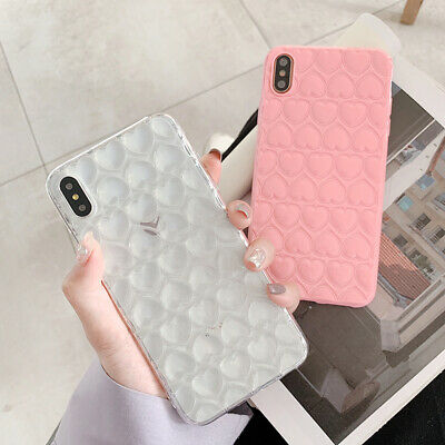 For iPhone XS Max XR 8 7 6 Plus 6s 3D Love Heart Shockproof TPU Clear Case Cover