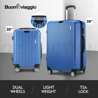 2PCS Luggage Suitcase Trolley Set TSA Hard Case Travel Storage Organiser Blue