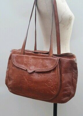 The Bridge Italy Vintage Handbag Leather Shoulder Tan Brown Tote Rare