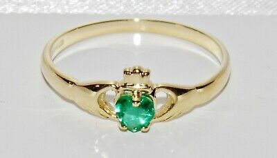 9ct Yellow Gold Emerald Claddagh Ring size J - Solid 9K Gold - Brand New
