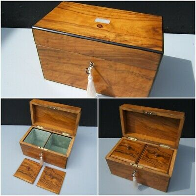 Superb 19C Figured Olivewood Inlaid Antique Jewellery/Caddy Box - Fab Interior