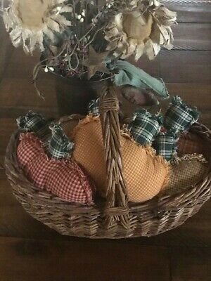 Farmhouse Plaid Ornies Bowl Fillers PrImITive Pumpkins Fall Halloween Orange