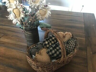 New Farmhouse Plaid Ornies Bowl Fillers PrImITive Hearts Black Tan Brown Rag